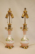 Pair Of Porcelain Hand-painted French Or English Oil Lamps