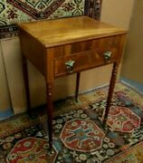 Antique American Federal Work Table W/fine Delicate Legs And Lift Top Writing Desk