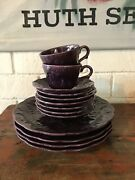 Dick Knox 1940s Vintage California Pottery Purple Cups And Plates - Set/13