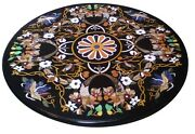 2.5and039 Black Marble Round Coffee Table Top Pietra Dura Mosaic Inlay Garden Decors