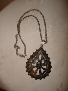 Vintage Collectible Huge Mexico Taxco 925 Sterling Silver Pendant Necklace Chain