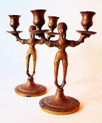 Old Antique Brass Candlesticks Matching Set Old Men Russian Style Pair Solid
