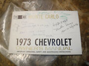 1973 Chevrolet Monte Carlo Owners Manual Glove Box Booklet Original With Pouch