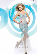 598 Faviana S7153 Long Snow Angel Blue Or Gold Formal Pageant Dress Gown Sz0-14
