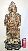 Solid Stone Hand Carved Large Asian Sculpture 20th Century 98 Pounds