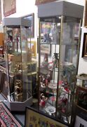 Fine Hexagon Sided Tower Lighted Showcase 76 Tall W/ 4 Glass Shelves Hci Co.