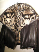 Wild Gianfranco Ferre Brown Leather And Rabbit Fur Crop Bomber Jacket 44