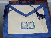 Vintage Mason Lodge Leather Apron With Holy Bible Embroidery