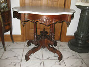 American Rococo Rosewood Turtle Marble Top Parlor Table Ca.1850s