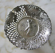 Silver .800 Open Work Hand Chased Candy Dish C.1870s