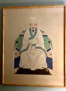 Chinese Painting Of Emporer Water Color On Silk 36andrdquox46 Framed Under Glass