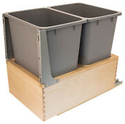 Hafele Double 2 X 36 Qt Waste Bin Pull-out System Bottom Mount W/soft-close Wood