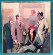 Vintage Illustration Signed Linus Axel 1885-1980 At Art Gallery Gouache