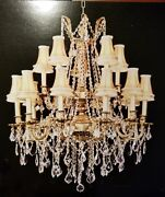 Palace Royal 15 Light French Gold Crystal Chandelier Light W Shades 30x35