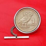 1973 Greece 1 Drachma Athenaand039s Owl And Phoenix Coin Coin Silver Plated Tie Tack