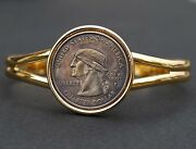 Us 2000 Washington Quarter Hobo Nickel Style Coin Gold Plated Cuff Bracelet New
