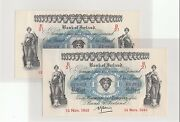 1943 Nov Bank Of Ireland One Pounds Con 2 Notes Almost-uncirculated