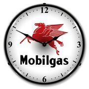 Nostalgic Mobilgas Gas Station Mobil Game Room Man Cave Led Lighted Wall Clock