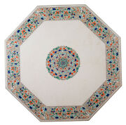 30 White Marble Coffee Table Top Inlaid Multi Stone Rare Marquetry Decor H2185