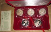 1995 Chinaprc 5 Chinese Culture 1 5 Proof Silver Coins Set With Coa And Box