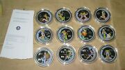 2003 Cook Island Zodiac Series 50c Proof Color 12 Coins Set With Coa Rare And Sc