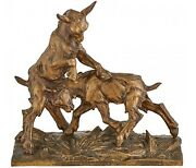 Large Charles Paillet French 1871-1937 Bronze Sculpture Of Playful Goats