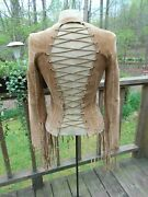 Rare Vintage 80and039s Tan Suede Leather Fringe Jacket Top Hippie Festival Size M