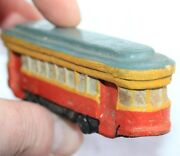 Russian Antique Primitive Old Toys Car Bus Tram Clay Hand Carved