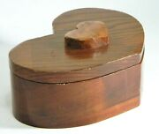 Heart Shaped Wood Box Hand Crafted Jewelry Storage Display Vintage