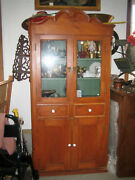 Antique American Early Primitive Pine Cupboard. Hand Carved Top. Aafa