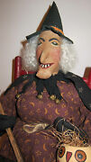 Vintage Primitive Folk Art Halloween Witch Doll By Sylvia Carlson. Awesome