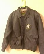 North American Hunting Club Life Member Menand039s Brown Leather Bomber Jacket L 10d