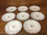 """8 Wedgewood Rosedale China R4665 8"""" Salad Plates - Excellent"""