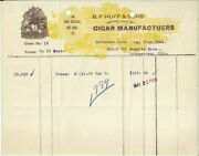 Old Vintage B. F. Huff And Sons Cigar Manufactuers Bethesda Ohio 1924 Invoice