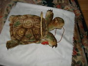 Vintage Collectible 50and039s Slo Stuffed Turtle On Wheels Mohair Steiff Pull Toy