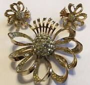 Vintage Coro Signed Sterling Silver Clear Rhinestone Flower Brooch And Earrings