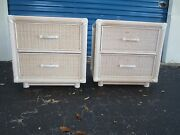 Pencil Pair Bamboo Wicker 2 Nightstands Cottage Coastal Faux Rattan Reed