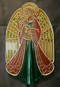 1979 Hallmark Angel Feather Tree Topper Translucent Acrylic Stain Glass Look 8