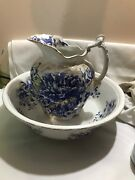 Dunn Bennett Arcadia Gold Trim Flow Blue Wash Basin And Pitcher Blue And White 19c