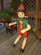 Vtg Handcrafted Hand Painted Wood Carved Pinocchio Marionette Puppet 38 Tall