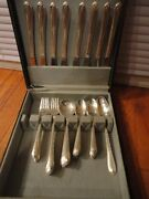 49 Piece Wm Rogers And Son Silver Exquisite Silver Plate Service In Box Vintage