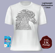 Ladies Womenand039s Horse Mustang Colouring T Shirt Choice Of Sizes With Or With...