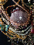 Jewelry Lot Vintage Art Deco Beads Crystal Amethyst Antique Old Gold Brooch