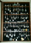 Souvenir Spoon Collection 155 Spoons+some Thimbles And Case