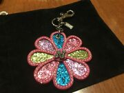 New Coach Gorgeous Pink Multi-color Glitter/crystal Keychain/keyring/fob/charm