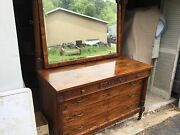 Antique Burl Carved Walnut 3 Over 3 Dresser With Mirror - Awesome
