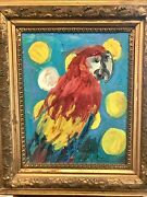 Hunt Slonem Bird Oil Painting On Canvas Antique Gilt Frame Signed And Dated