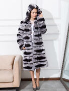 Womenand039s Single Breast Rex Rabbit Fur Coat With Hood Chinchilla Appearance 85cm