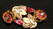 Vintage Coro Ruby Red Duette Quivering Camellia Gold Tone Pin/brooch