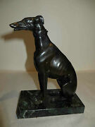 Antique Bronze Greyhound Dog Detailed Statue Marble Base C1870 - Have A Pair